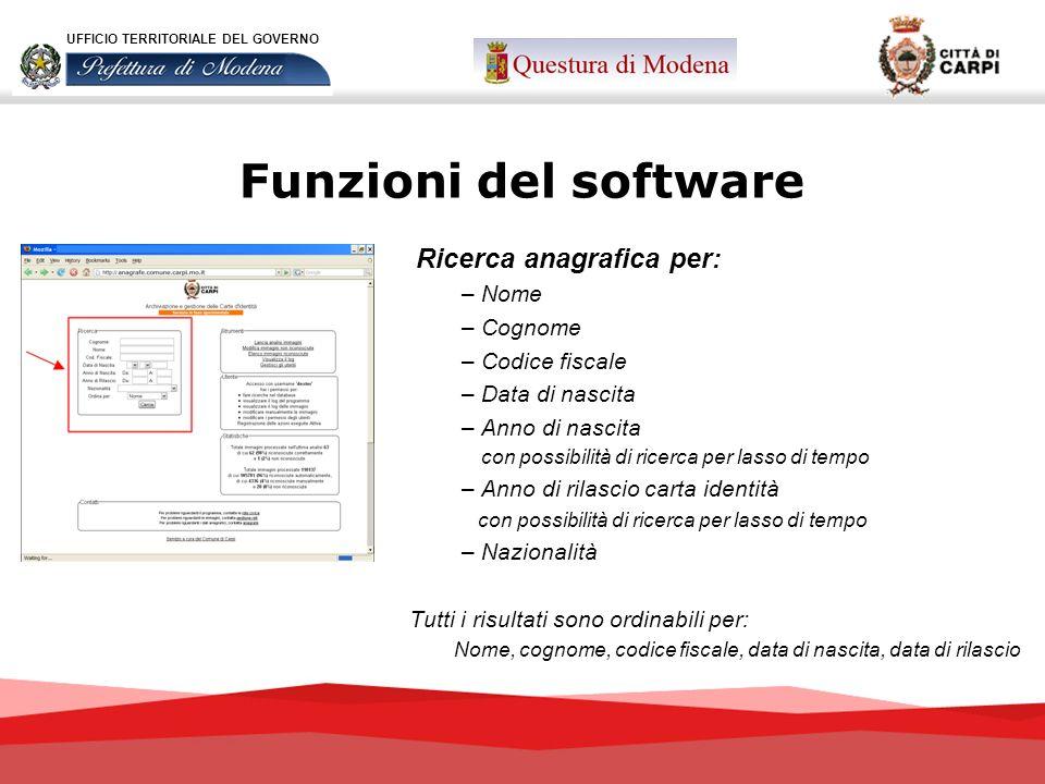 Funzioni del software Ricerca anagrafica per: – Nome – Cognome – Codice fiscale – Data di nascita – Anno di nascita con possibilità di ricerca per las