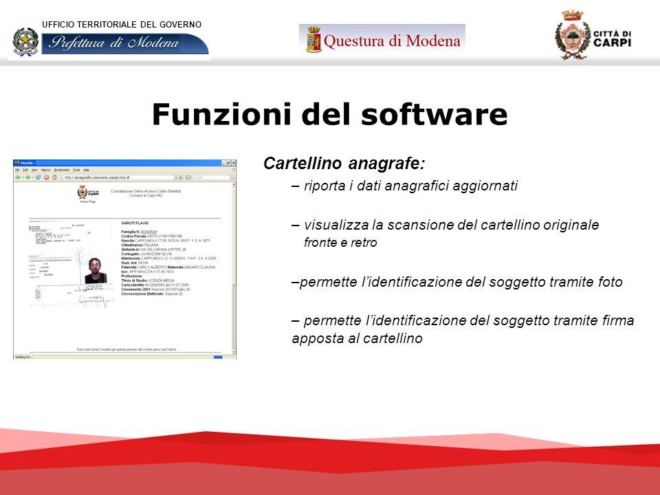 Funzioni del software Cartellino anagrafe: – riporta i dati anagrafici aggiornati – visualizza la scansione del cartellino originale fronte e retro –p