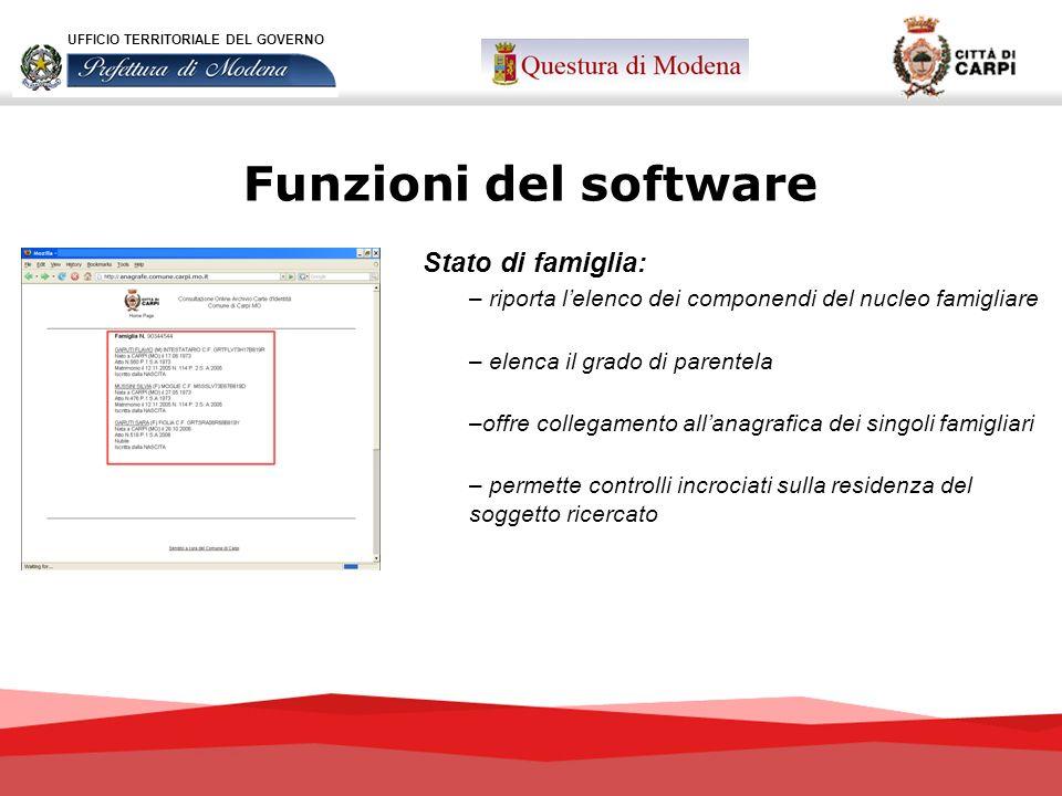 Funzioni del software Stato di famiglia: – riporta lelenco dei componendi del nucleo famigliare – elenca il grado di parentela –offre collegamento all