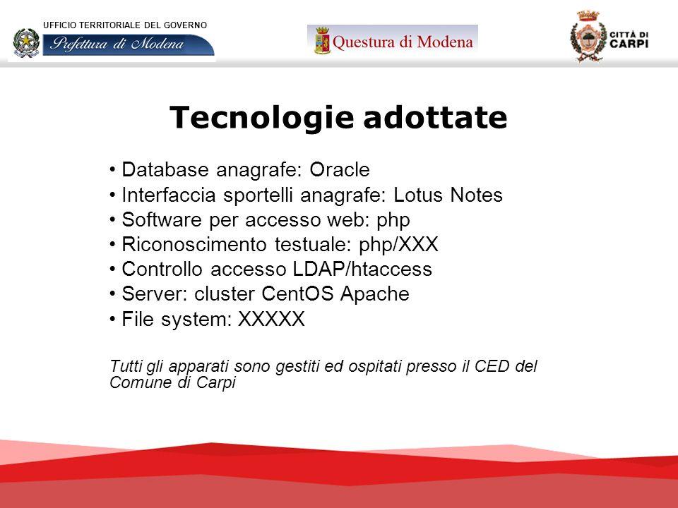 Tecnologie adottate UFFICIO TERRITORIALE DEL GOVERNO Database anagrafe: Oracle Interfaccia sportelli anagrafe: Lotus Notes Software per accesso web: p