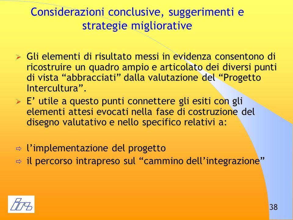38 Considerazioni conclusive, suggerimenti e strategie migliorative Gli elementi di risultato messi in evidenza consentono di ricostruire un quadro am