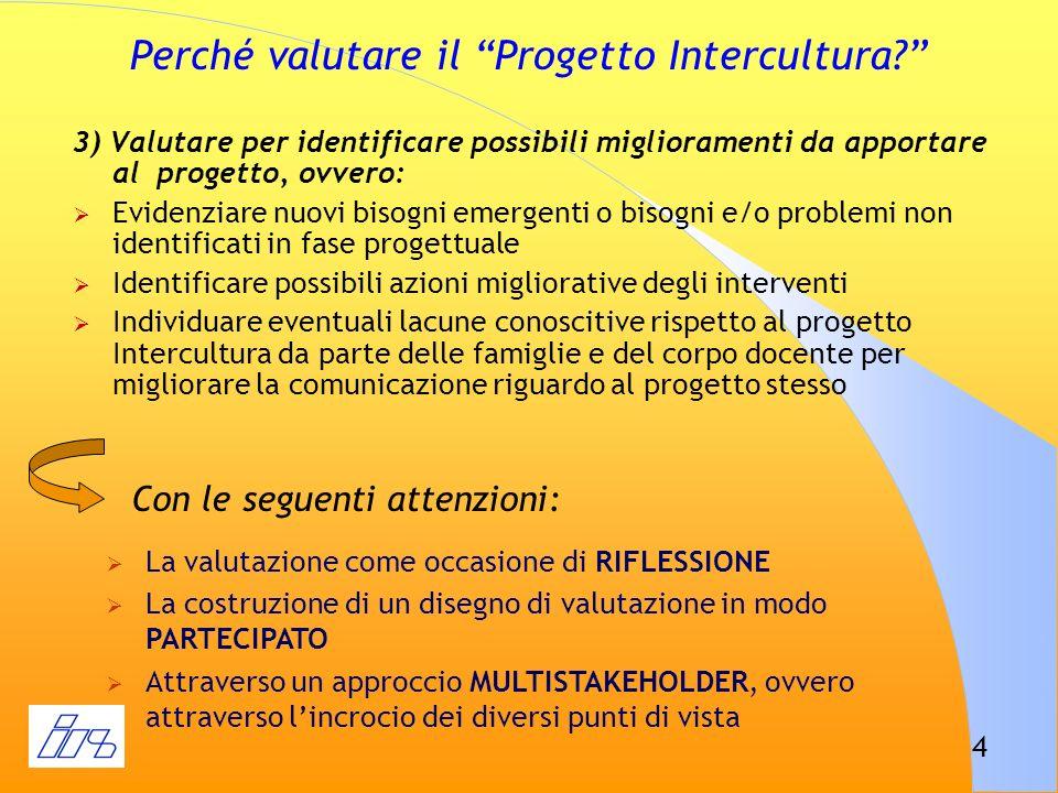 4 Perché valutare il Progetto Intercultura? 3) Valutare per identificare possibili miglioramenti da apportare al progetto, ovvero: Evidenziare nuovi b