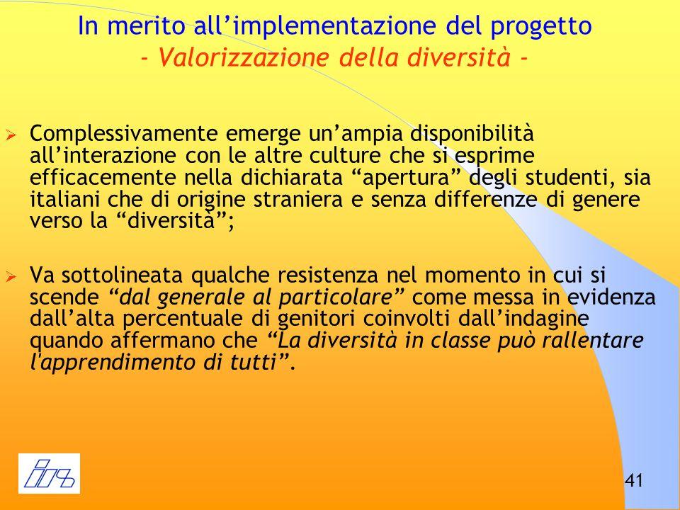 41 In merito allimplementazione del progetto - Valorizzazione della diversità - Complessivamente emerge unampia disponibilità allinterazione con le al