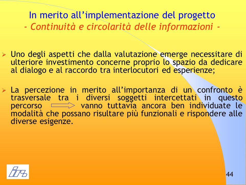 44 In merito allimplementazione del progetto - Continuità e circolarità delle informazioni - Uno degli aspetti che dalla valutazione emerge necessitar