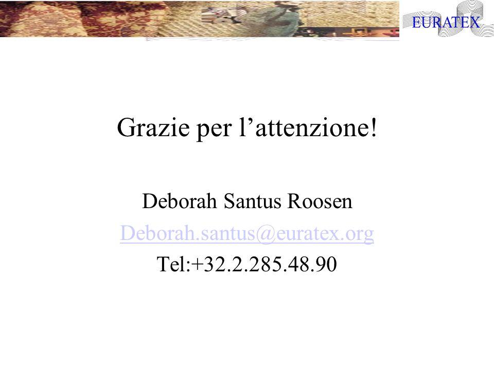 Grazie per lattenzione! Deborah Santus Roosen Deborah.santus@euratex.org Tel:+32.2.285.48.90