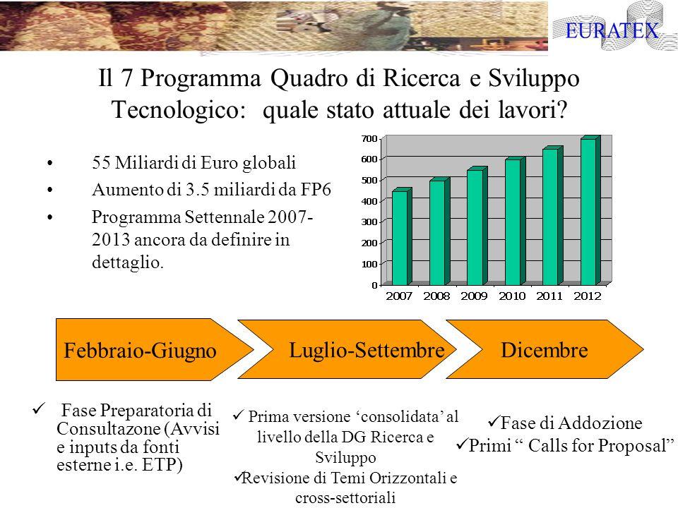 Il 7 Programma Quadro di Ricerca e Sviluppo Tecnologico: quale stato attuale dei lavori? 55 Miliardi di Euro globali Aumento di 3.5 miliardi da FP6 Pr