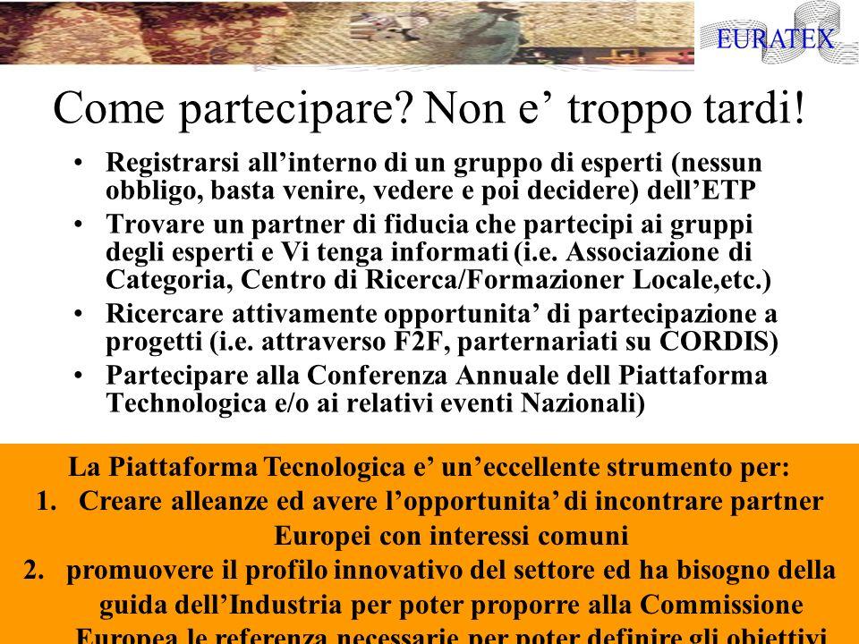 Risorse Utili : EURATEX- Organizzazione Europea Tessile e Abbigliamento http://www.euratex.org Informazioni su Programmi di Ricerca e Progetti: http://ec.europa.eu/research Settimo Programma Quadro: http://ec.europa.eu/research/future/index_en.cfm La Piattaforma Tecnologica per il Tessile e Abbigliamento: http://www.textile-platform.org