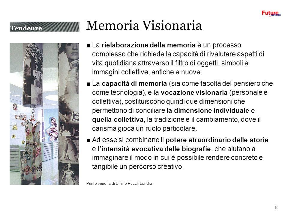 Memoria Visionaria La rielaborazione della memoria è un processo complesso che richiede la capacità di rivalutare aspetti di vita quotidiana attraverso il filtro di oggetti, simboli e immagini collettive, antiche e nuove.