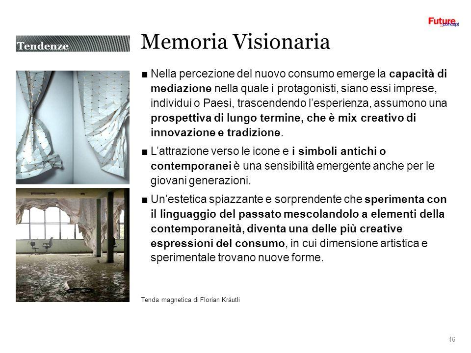 Memoria Visionaria Nella percezione del nuovo consumo emerge la capacità di mediazione nella quale i protagonisti, siano essi imprese, individui o Paesi, trascendendo lesperienza, assumono una prospettiva di lungo termine, che è mix creativo di innovazione e tradizione.