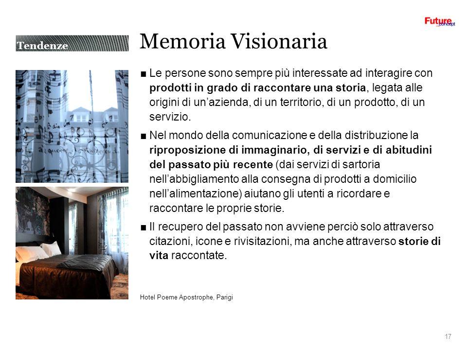 Memoria Visionaria Le persone sono sempre più interessate ad interagire con prodotti in grado di raccontare una storia, legata alle origini di unazienda, di un territorio, di un prodotto, di un servizio.