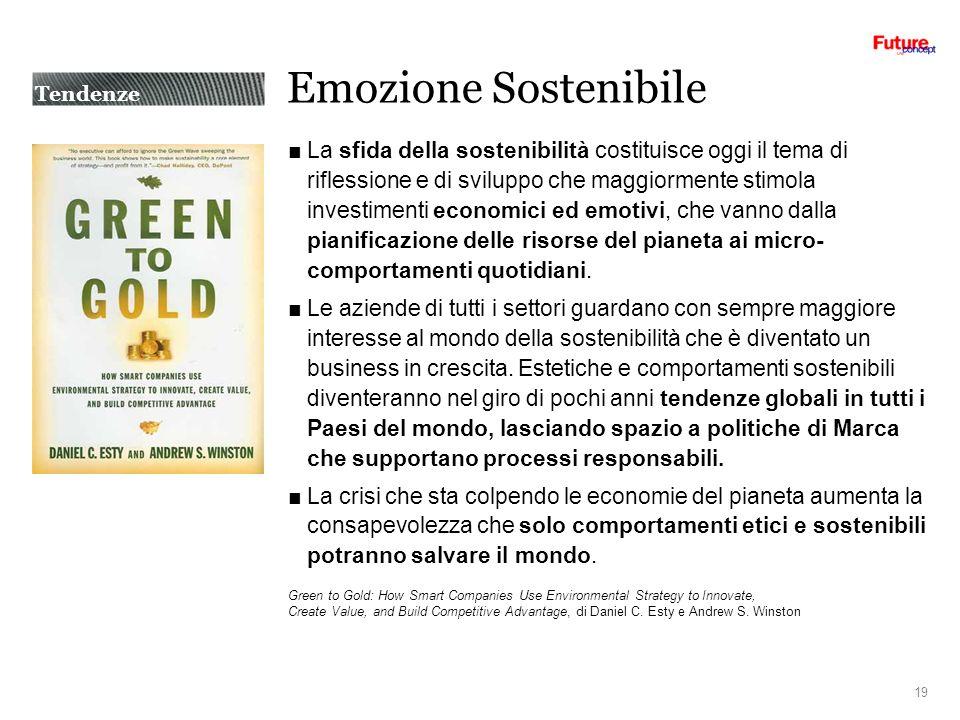 Emozione Sostenibile La sfida della sostenibilità costituisce oggi il tema di riflessione e di sviluppo che maggiormente stimola investimenti economici ed emotivi, che vanno dalla pianificazione delle risorse del pianeta ai micro- comportamenti quotidiani.