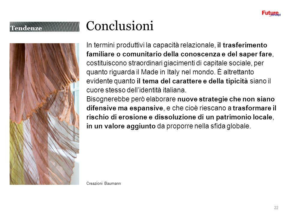 Conclusioni In termini produttivi la capacità relazionale, il trasferimento familiare o comunitario della conoscenza e del saper fare, costituiscono straordinari giacimenti di capitale sociale, per quanto riguarda il Made in Italy nel mondo.