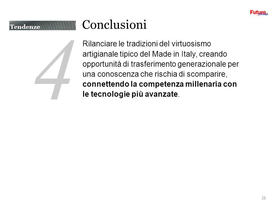 4 Conclusioni Rilanciare le tradizioni del virtuosismo artigianale tipico del Made in Italy, creando opportunità di trasferimento generazionale per una conoscenza che rischia di scomparire, connettendo la competenza millenaria con le tecnologie più avanzate.