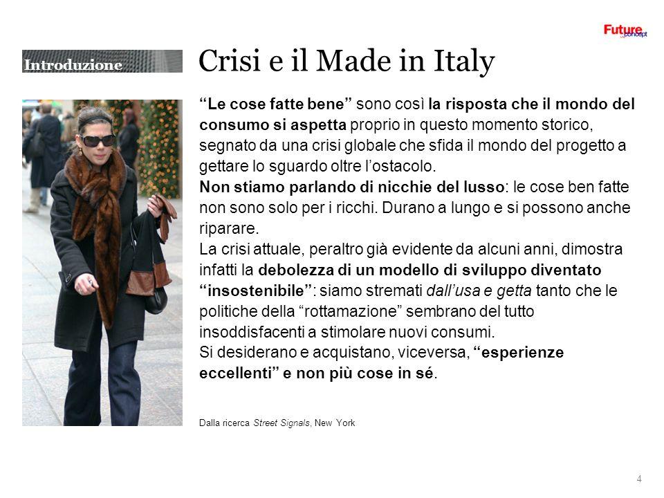 Introduzione Crisi e il Made in Italy Le cose fatte bene sono così la risposta che il mondo del consumo si aspetta proprio in questo momento storico, segnato da una crisi globale che sfida il mondo del progetto a gettare lo sguardo oltre lostacolo.