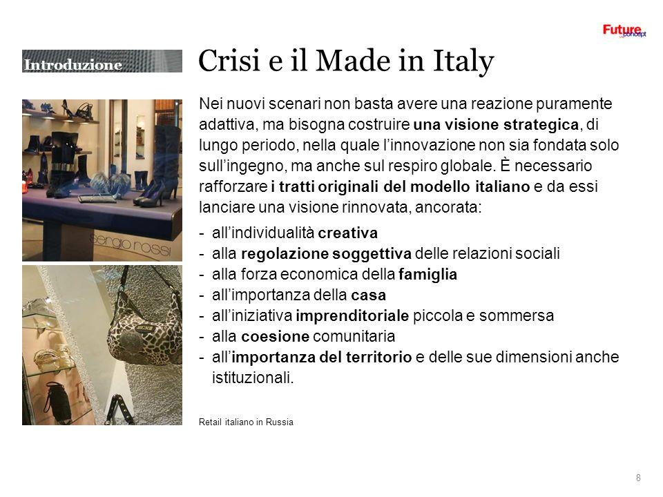 Crisi e il Made in Italy Nei nuovi scenari non basta avere una reazione puramente adattiva, ma bisogna costruire una visione strategica, di lungo periodo, nella quale linnovazione non sia fondata solo sullingegno, ma anche sul respiro globale.
