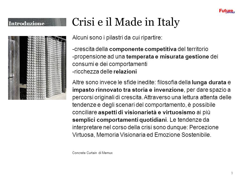 Crisi e il Made in Italy Alcuni sono i pilastri da cui ripartire: -crescita della componente competitiva del territorio -propensione ad una temperata