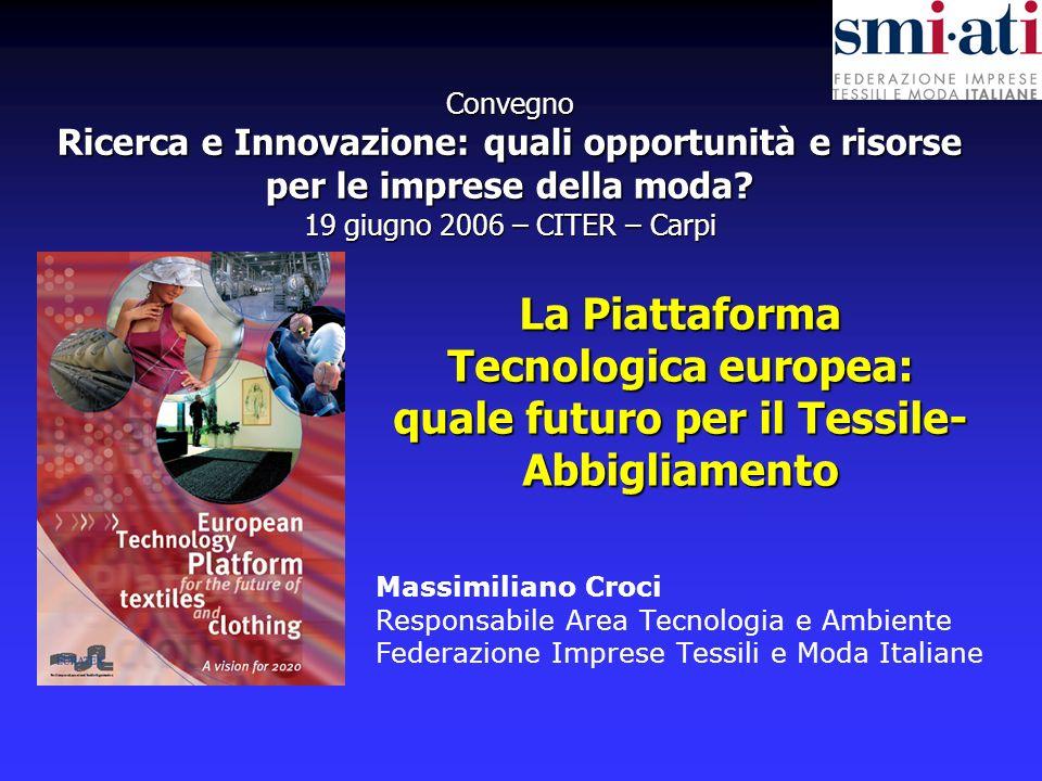 La Piattaforma Tecnologica europea: quale futuro per il Tessile-Abbigliamento Massimiliano Croci - Federazione SMI-ATI 19 giugno 2006 - Carpi - 2 - Il settore Tessile-Abbigliamento EUROPA: Fatturato: 215 miliardi di Euro Addetti: 2,6 mil.