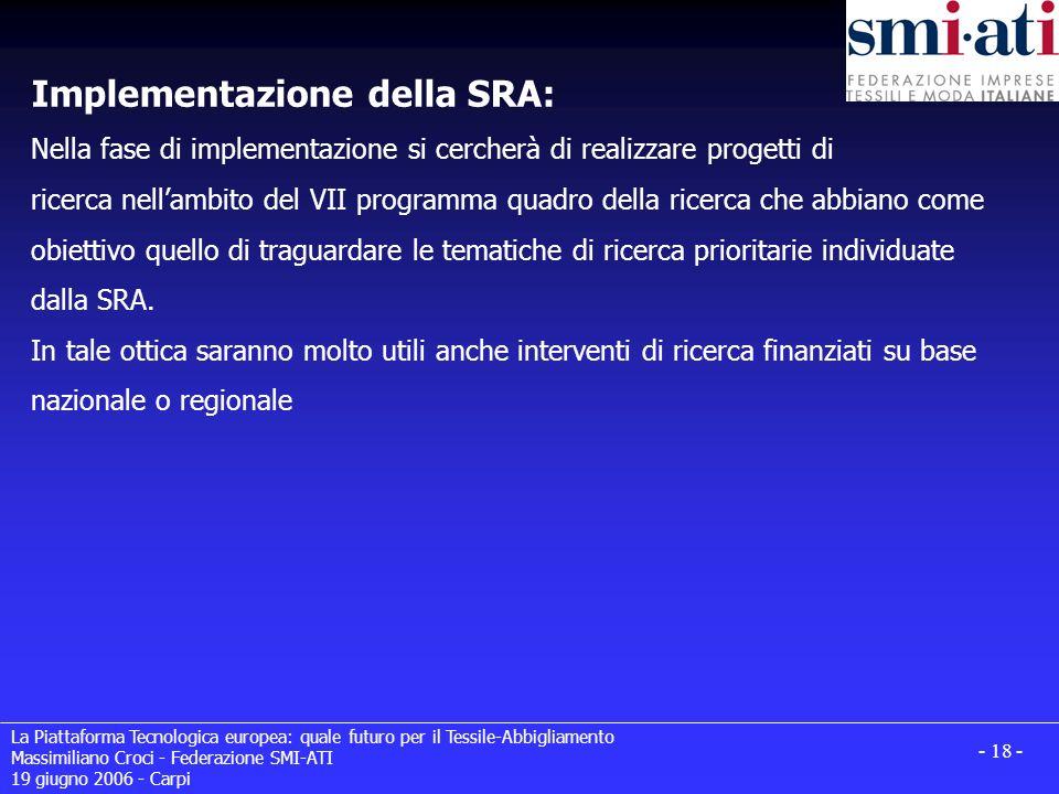 La Piattaforma Tecnologica europea: quale futuro per il Tessile-Abbigliamento Massimiliano Croci - Federazione SMI-ATI 19 giugno 2006 - Carpi - 18 - I