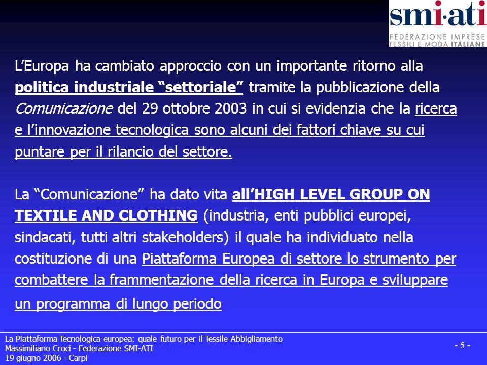 La Piattaforma Tecnologica europea: quale futuro per il Tessile-Abbigliamento Massimiliano Croci - Federazione SMI-ATI 19 giugno 2006 - Carpi - 16 - Presentazione della SRA: Il 7/8 giugno u.s.