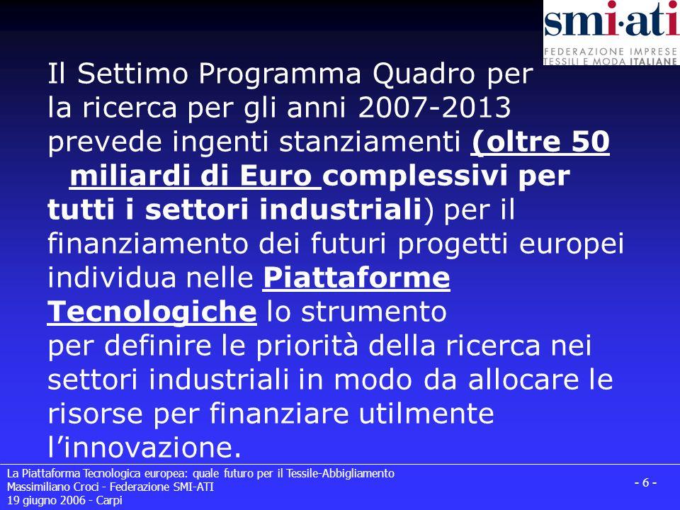 La Piattaforma Tecnologica europea: quale futuro per il Tessile-Abbigliamento Massimiliano Croci - Federazione SMI-ATI 19 giugno 2006 - Carpi - 6 - Il Settimo Programma Quadro per la ricerca per gli anni 2007-2013 prevede ingenti stanziamenti (oltre 50 miliardi di Euro complessivi per tutti i settori industriali) per il finanziamento dei futuri progetti europei individua nelle Piattaforme Tecnologiche lo strumento per definire le priorità della ricerca nei settori industriali in modo da allocare le risorse per finanziare utilmente linnovazione.