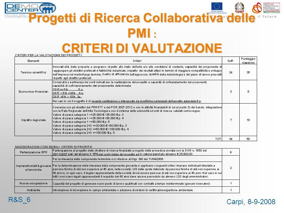 Carpi, 8-9-2008 Progetti di Ricerca Collaborativa delle PMI : CRITERI DI VALUTAZIONE R&S_6