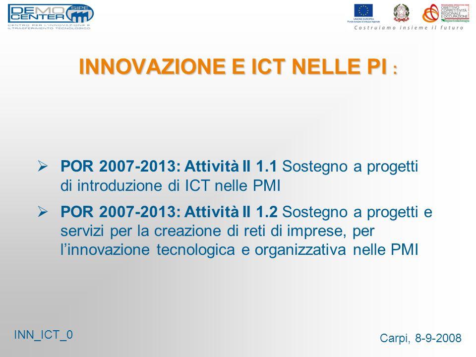 Carpi, 8-9-2008 INNOVAZIONE E ICT NELLE PI : POR 2007-2013: Attività II 1.1 Sostegno a progetti di introduzione di ICT nelle PMI POR 2007-2013: Attivi