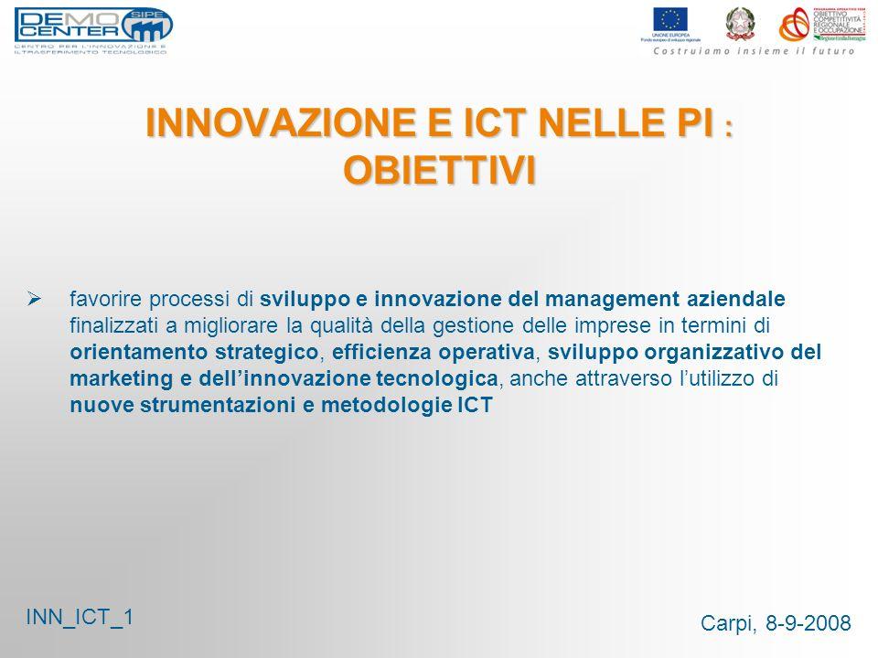 Carpi, 8-9-2008 INNOVAZIONE E ICT NELLE PI : OBIETTIVI favorire processi di sviluppo e innovazione del management aziendale finalizzati a migliorare l