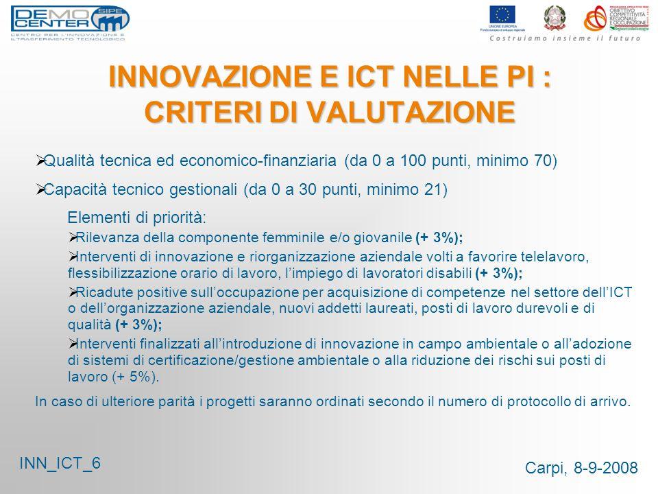 Carpi, 8-9-2008 INNOVAZIONE E ICT NELLE PI : CRITERI DI VALUTAZIONE INN_ICT_6 Qualità tecnica ed economico-finanziaria (da 0 a 100 punti, minimo 70) C