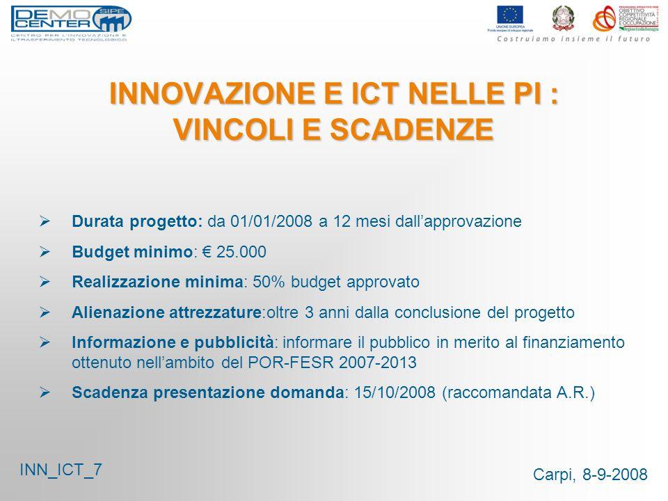 Carpi, 8-9-2008 INNOVAZIONE E ICT NELLE PI : VINCOLI E SCADENZE Durata progetto: da 01/01/2008 a 12 mesi dallapprovazione Budget minimo: 25.000 Realiz