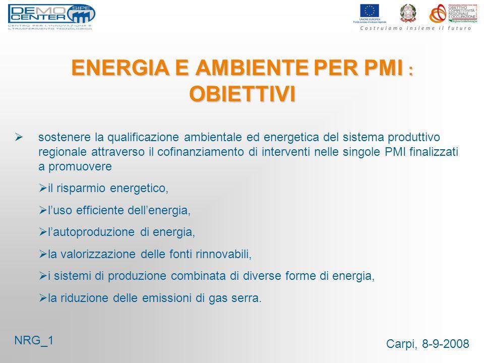 Carpi, 8-9-2008 ENERGIA E AMBIENTE PER PMI : OBIETTIVI sostenere la qualificazione ambientale ed energetica del sistema produttivo regionale attravers
