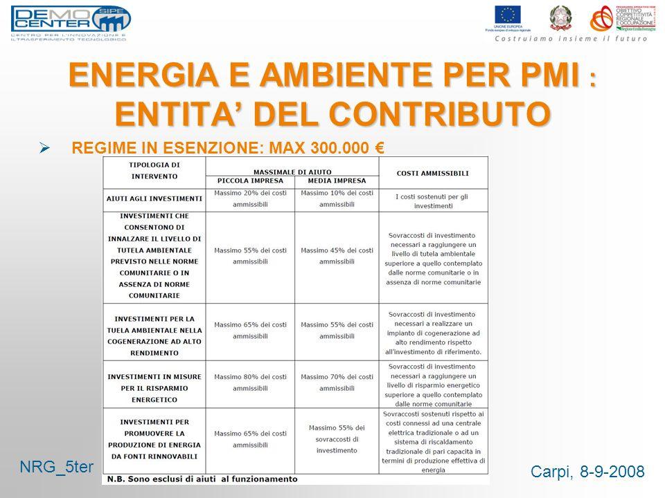 Carpi, 8-9-2008 ENERGIA E AMBIENTE PER PMI : ENTITA DEL CONTRIBUTO REGIME IN ESENZIONE: MAX 300.000 NRG_5ter
