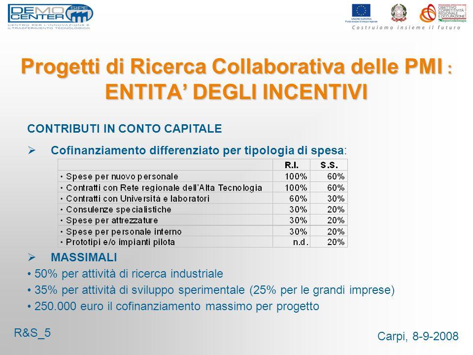 Carpi, 8-9-2008 Progetti di Ricerca Collaborativa delle PMI : ENTITA DEGLI INCENTIVI CONTRIBUTI IN CONTO CAPITALE Cofinanziamento differenziato per tipologia di spesa: MASSIMALI 50% per attività di ricerca industriale 35% per attività di sviluppo sperimentale (25% per le grandi imprese) 250.000 euro il cofinanziamento massimo per progetto R&S_5