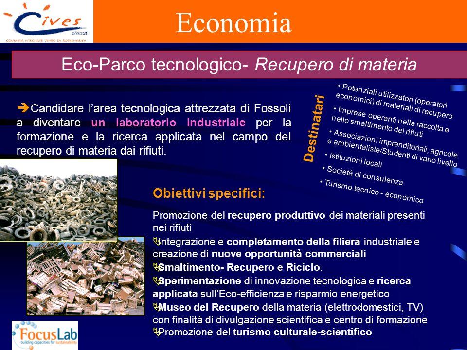 Economia Eco-Parco tecnologico- Recupero di materia Candidare larea tecnologica attrezzata di Fossoli a diventare un laboratorio industriale per la formazione e la ricerca applicata nel campo del recupero di materia dai rifiuti.