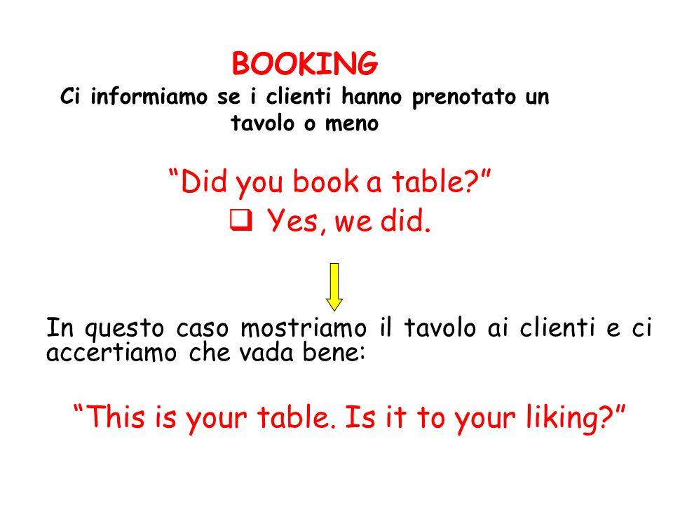BOOKING Ci informiamo se i clienti hanno prenotato un tavolo o meno Did you book a table? Yes, we did. In questo caso mostriamo il tavolo ai clienti e