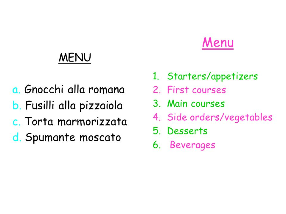 Exercise 1: Match the headings with the dishes in the menu.