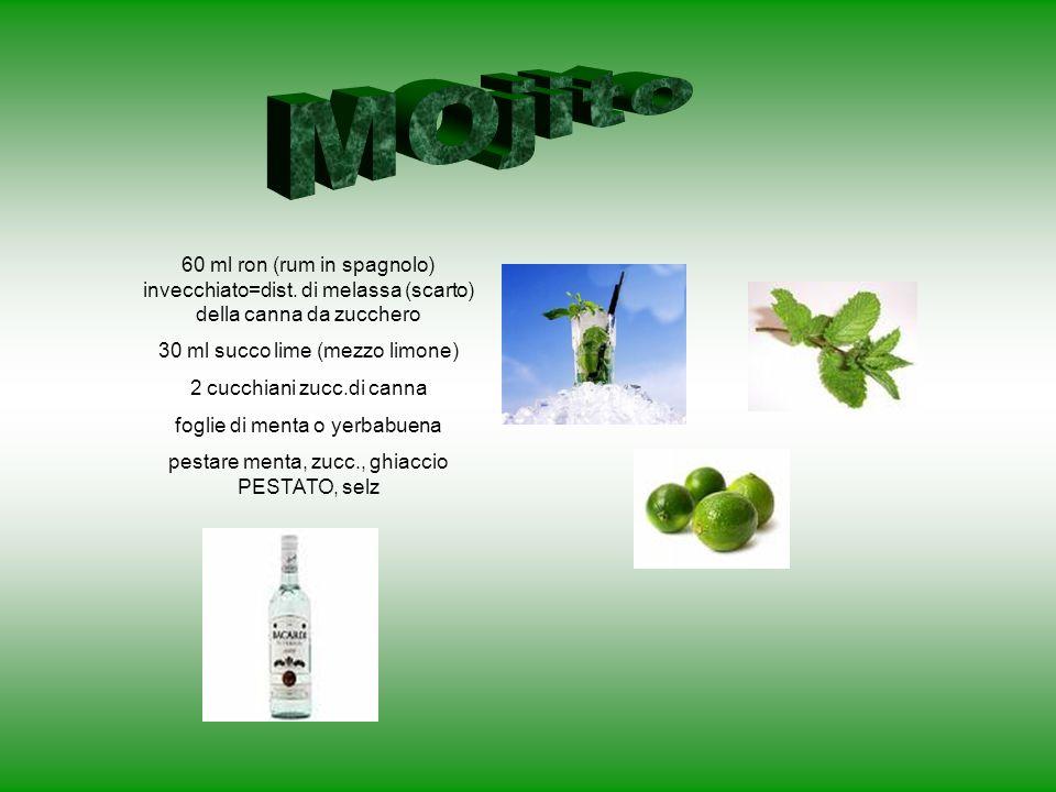 60 ml ron (rum in spagnolo) invecchiato=dist. di melassa (scarto) della canna da zucchero 30 ml succo lime (mezzo limone) 2 cucchiani zucc.di canna fo