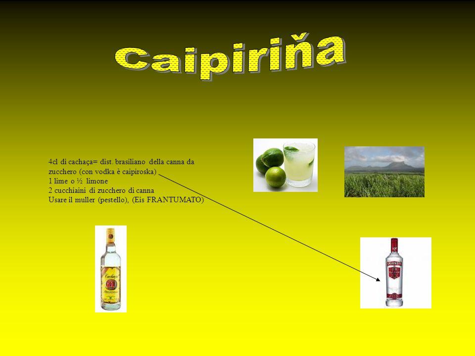 4cl di cachaça= dist. brasiliano della canna da zucchero (con vodka è caipiroska) 1 lime o ½ limone 2 cucchiaini di zucchero di canna Usare il muller