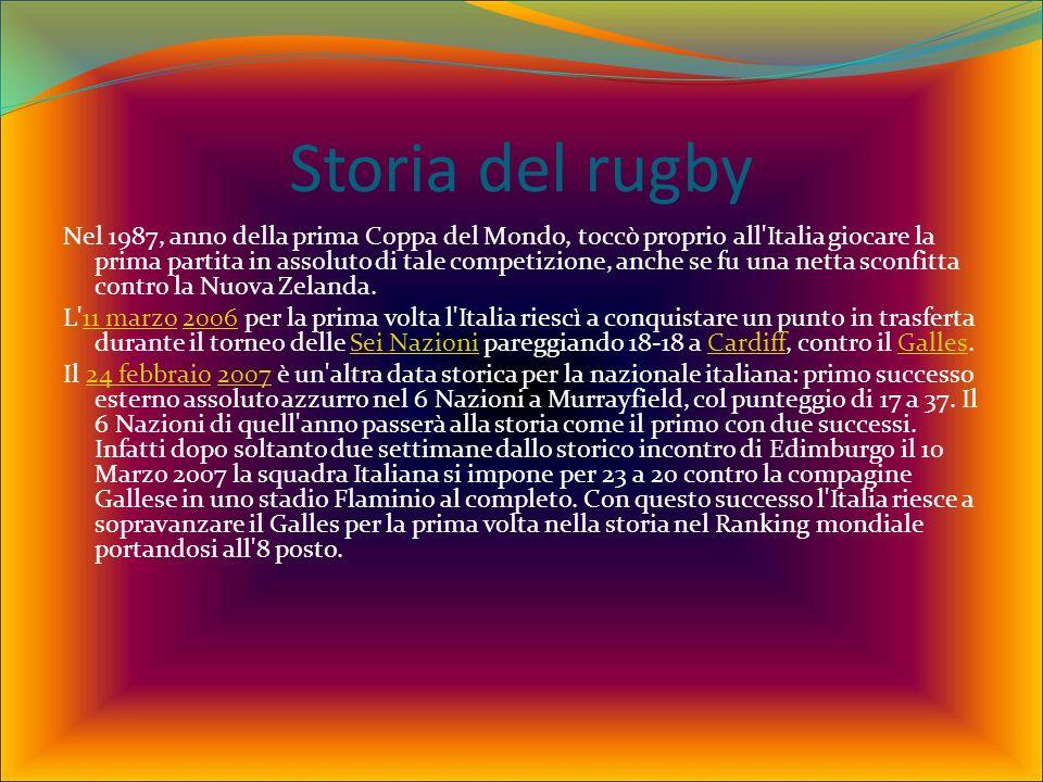 Storia del rugby Nel 1987, anno della prima Coppa del Mondo, toccò proprio all Italia giocare la prima partita in assoluto di tale competizione, anche se fu una netta sconfitta contro la Nuova Zelanda.