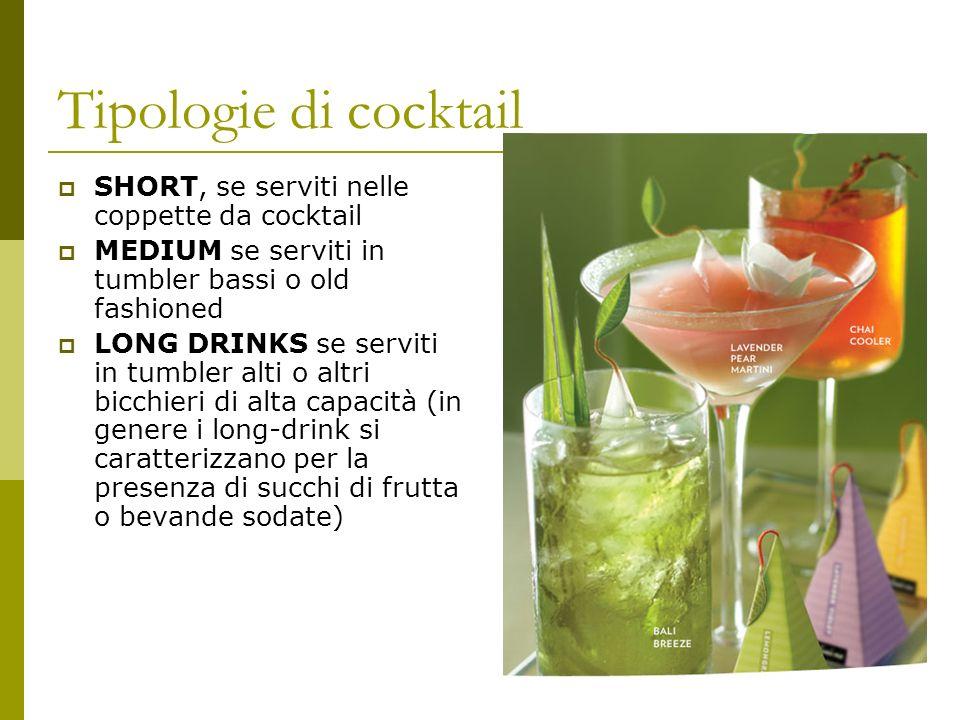 Tipologie di cocktail SHORT, se serviti nelle coppette da cocktail MEDIUM se serviti in tumbler bassi o old fashioned LONG DRINKS se serviti in tumble