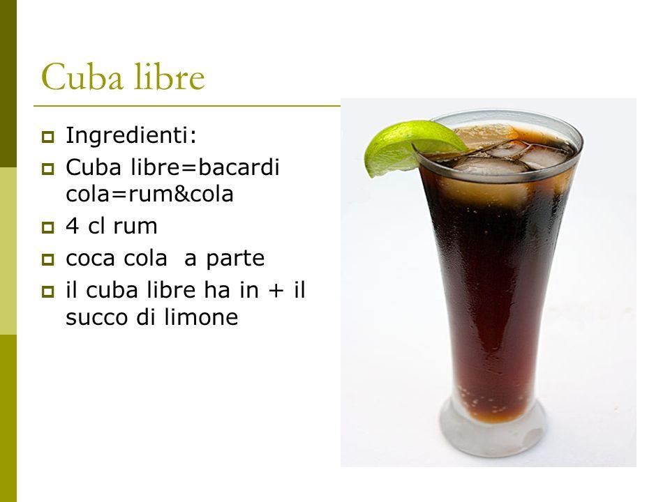 Cuba libre Ingredienti: Cuba libre=bacardi cola=rum&cola 4 cl rum coca cola a parte il cuba libre ha in + il succo di limone
