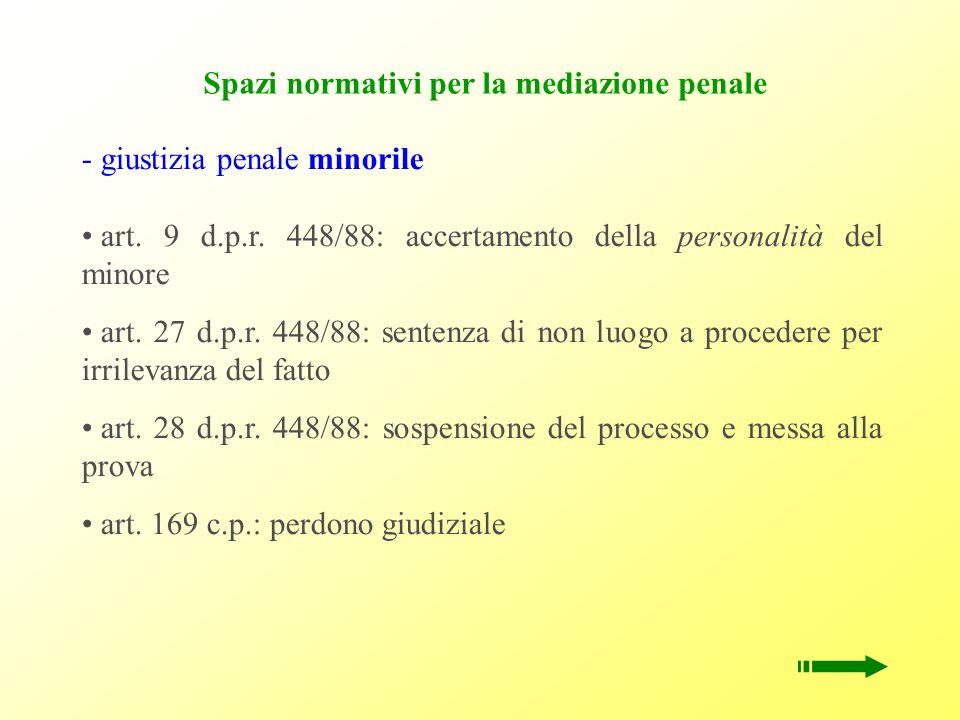 Spazi normativi per la mediazione penale - g- giustizia penale minorile art. 9 d.p.r. 448/88: accertamento della personalità del minore art. 27 d.p.r.