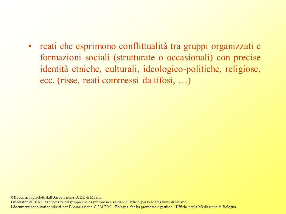 reati che esprimono conflittualità tra gruppi organizzati e formazioni sociali (strutturate o occasionali) con precise identità etniche, culturali, id