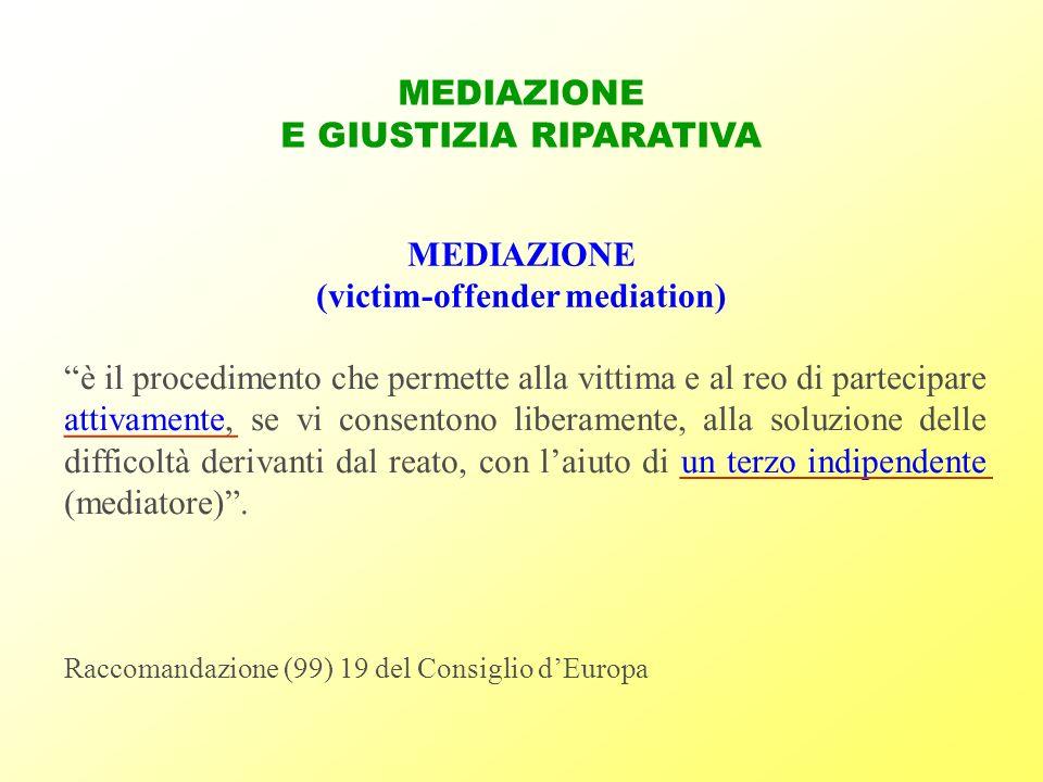 MEDIAZIONE E GIUSTIZIA RIPARATIVA MEDIAZIONE (victim-offender mediation) Raccomandazione (99) 19 del Consiglio dEuropa è il procedimento che permette