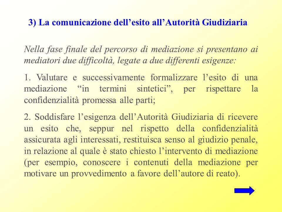 3) La comunicazione dellesito allAutorità Giudiziaria Nella fase finale del percorso di mediazione si presentano ai mediatori due difficoltà, legate a