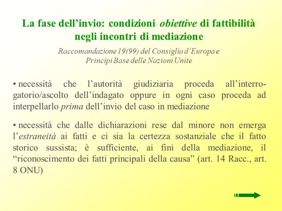 La fase dellinvio: condizioni obiettive di fattibilità negli incontri di mediazione Raccomandazione 19(99) del Consiglio dEuropa e Principi Base delle
