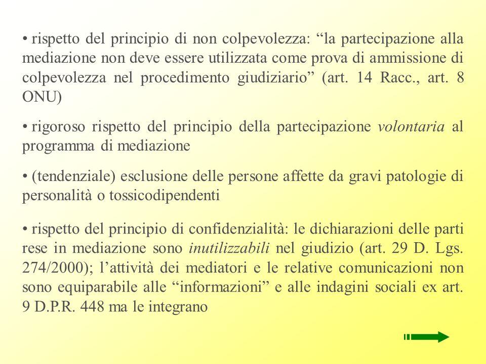 Principi fondamentali della mediazione penale - accessibilità - principio partecipativo (libertà, volontarietà) - confidenzialità - indipendenza, equoprossimità dei mediatori - ragionevolezza e proporzionatezza delle obbligazioni riparatorie - principio di non colpevolezza - autonomia della mediazione e rilevanza giudiziaria dei risultati - salvaguardia delle garanzie del giusto processo ©Documenti prodotti dallAssociazione DIKE di Milano.