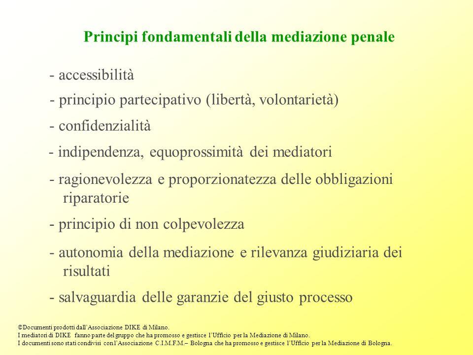 Principi fondamentali della mediazione penale - accessibilità - principio partecipativo (libertà, volontarietà) - confidenzialità - indipendenza, equo