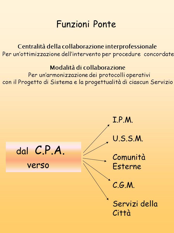 Funzioni Ponte Centralità della collaborazione interprofessionale Per unottimizzazione dellintervento per procedure concordate Modalità di collaborazi