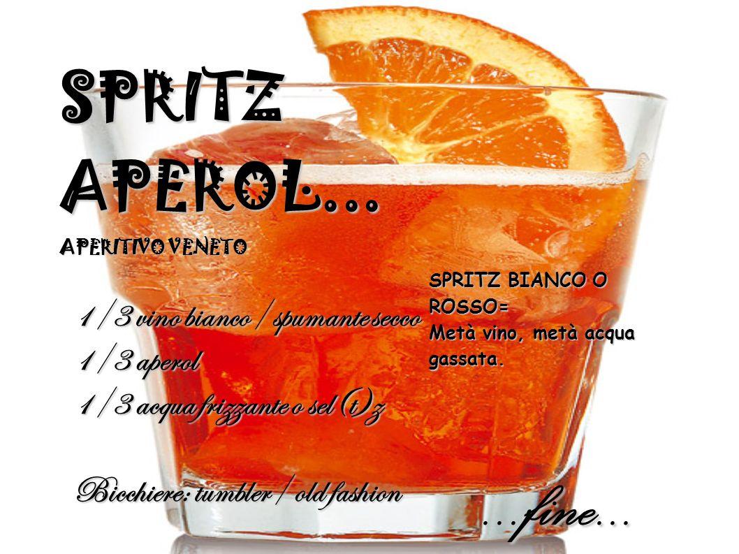 SPRITZ APEROL... APERITIVO VENETO 1/3 vino bianco/ spumante secco 1/3 aperol 1/3 acqua frizzante o sel(t)z Bicchiere: tumbler/ old fashion SPRITZ BIAN