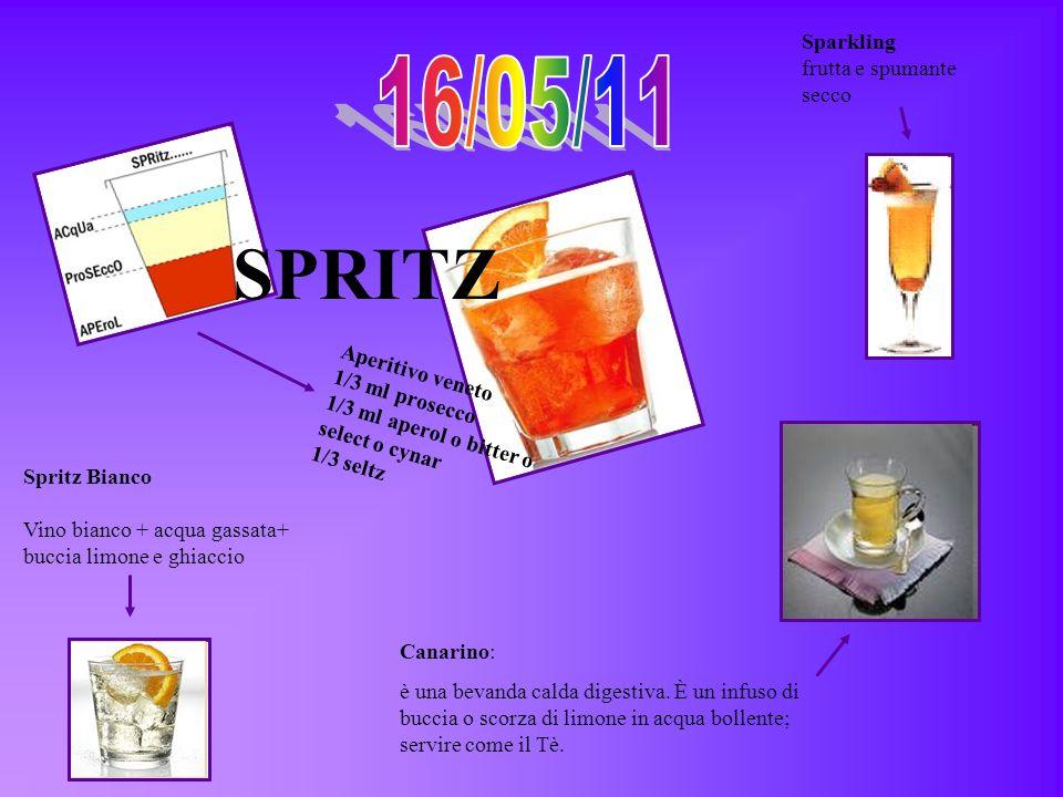 Aperitivo veneto 1/3 ml prosecco 1/3 ml aperol o bitter o select o cynar 1/3 seltz SPRITZ Spritz Bianco Vino bianco + acqua gassata+ buccia limone e g